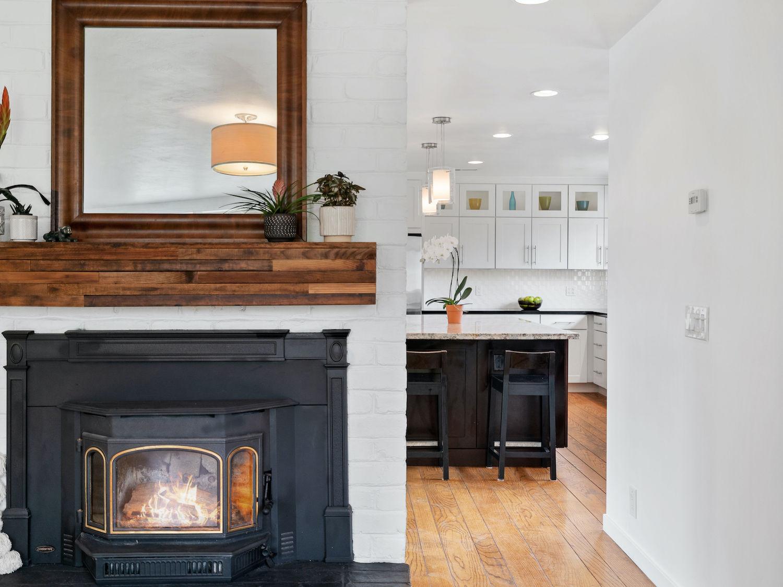 239 ross street santa cruz - fireplace and kitchen