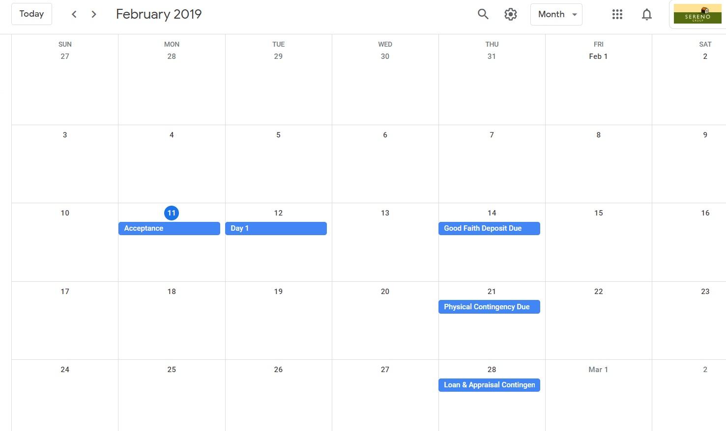 escrow period calendar