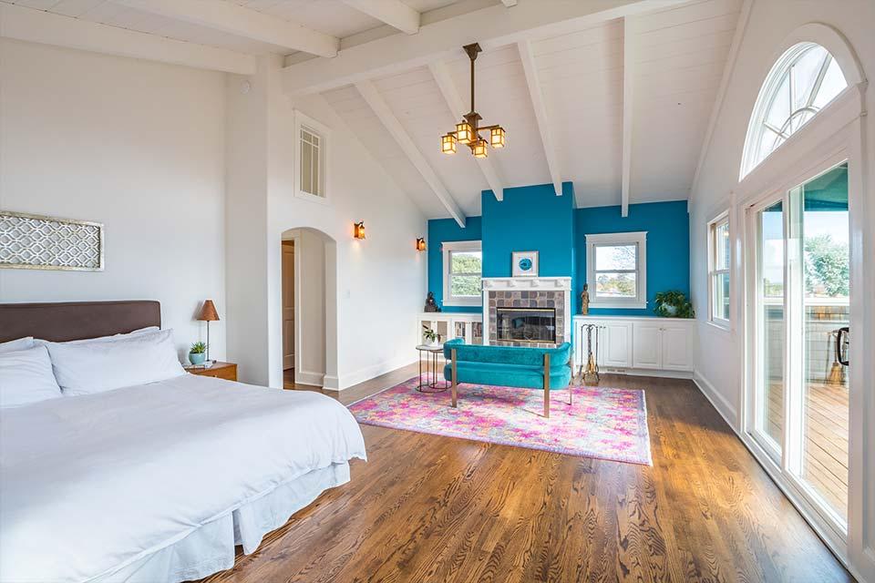 santa cruz home with light filled bedroom