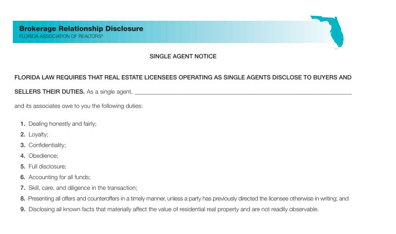 State Single Agent Disclosure Form