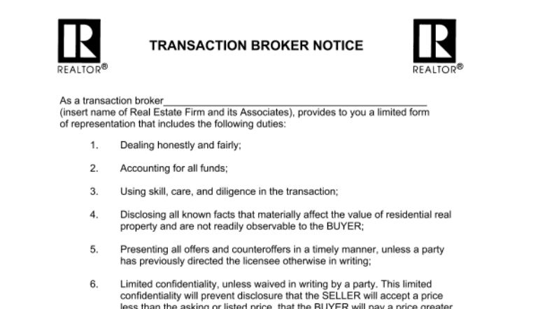 State Transaction Brokerage Form