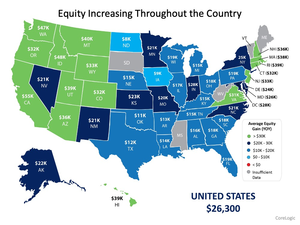 Equity Map of increased equity throughout the united states