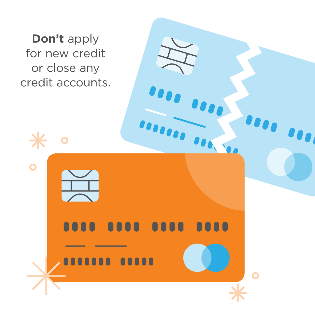 Don't apply for new credit / loans after applying for a mortgage