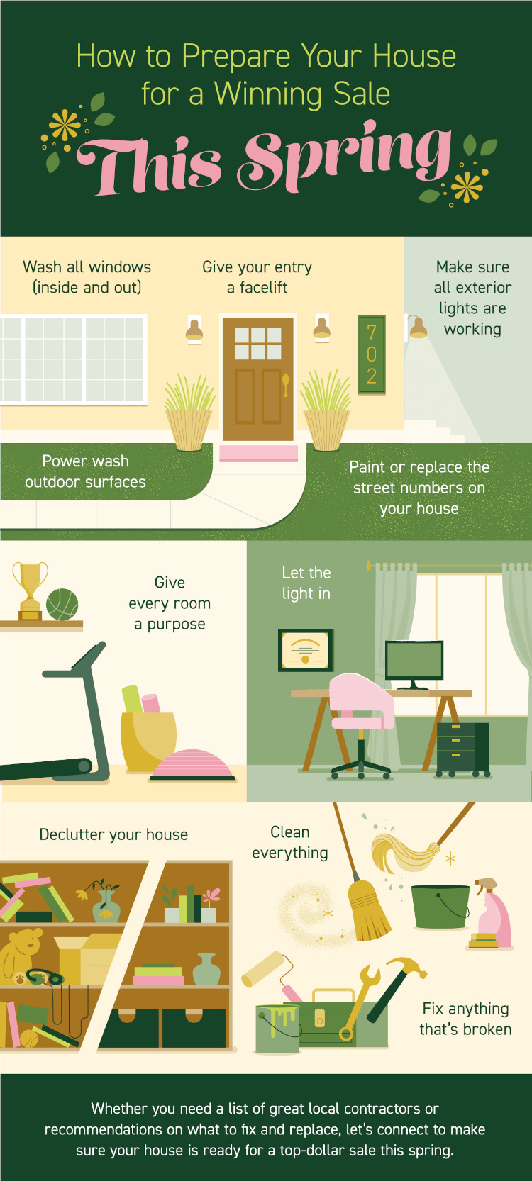 Get your house ready to sell with these tips from a real estate infographic.