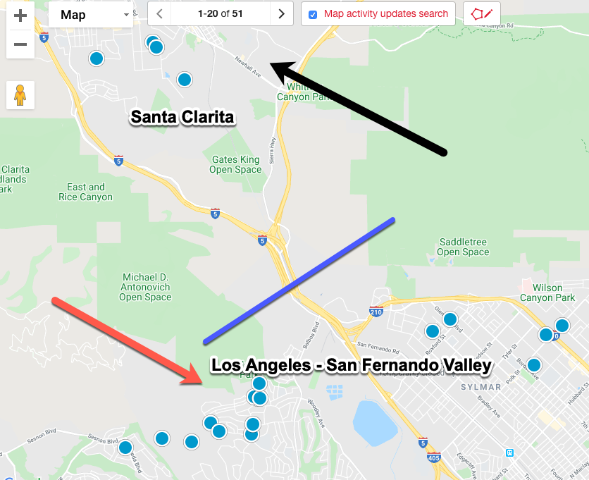 Santa Clarita map and proximity to the City of Los Angeles' San Fernando Valley