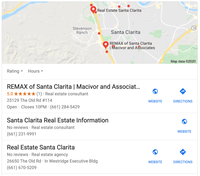 Top google result real estate in Santa Clarita