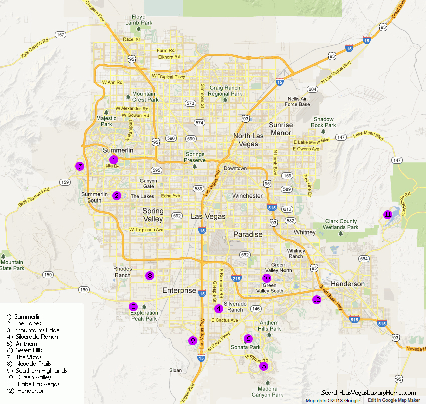 Las Vegas Gated Communities Map