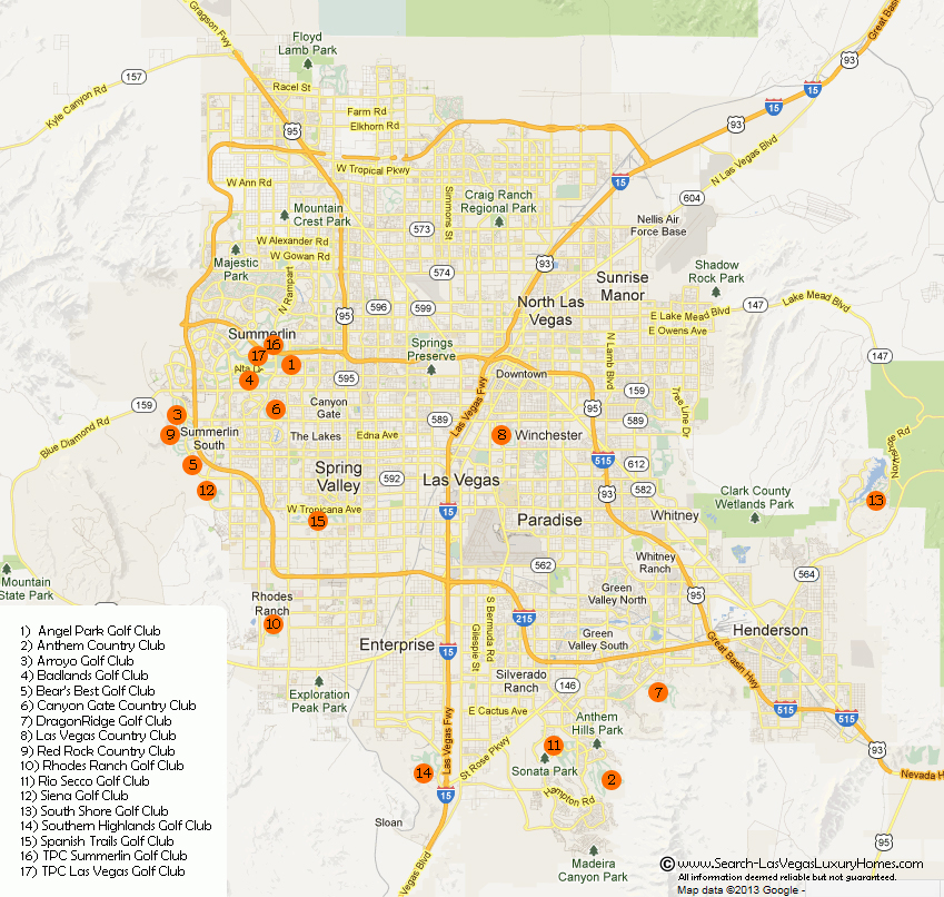 Las Vegas Golf Clubs and Country Clubs Map