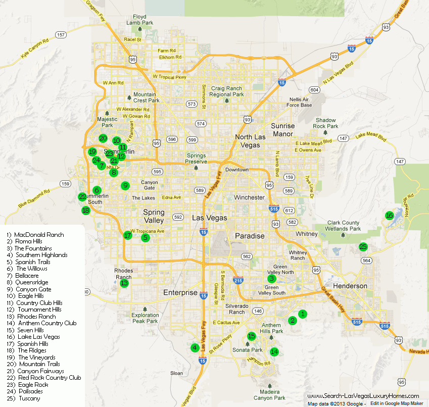 Las Vegas Guard Gated Communities Map