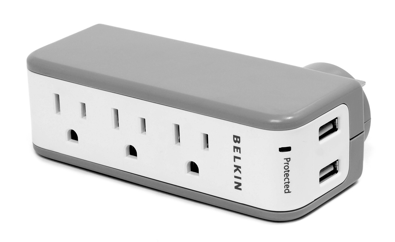 Belkin brand surge protector with three outlets