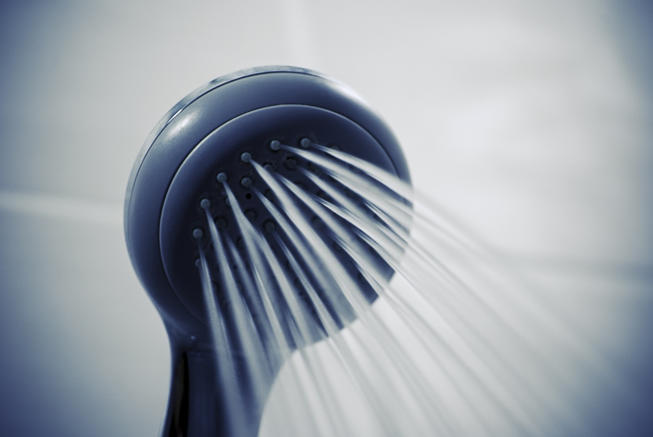 showerhead with water spraying out