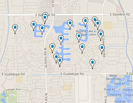 Val Vista Lakes Homes for Sale Map Search Results