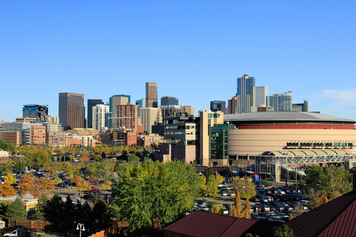 Pepsi Center overlooking Downtown Denver Colorado