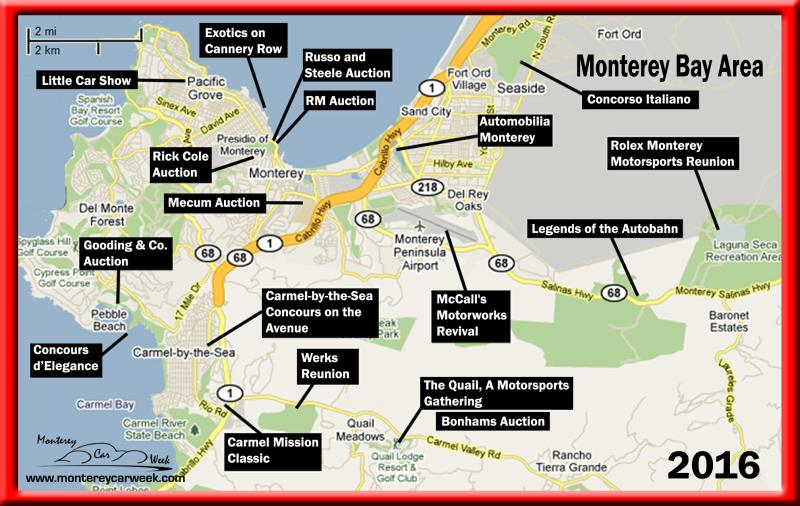 2016 Monterey Car Week Map of events