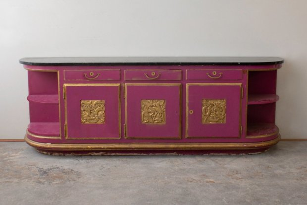 Rateau Magenta Colored Credenza