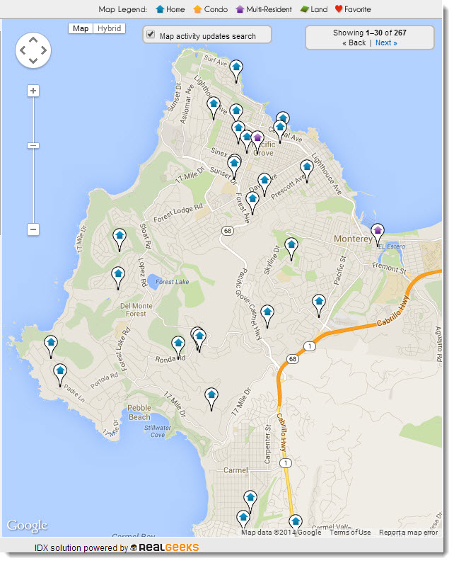 Monterey Peninsula Current Real Estate for sale map