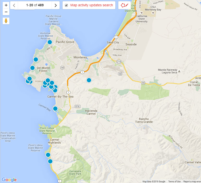 Monterey Peninsula Real Estate Map search