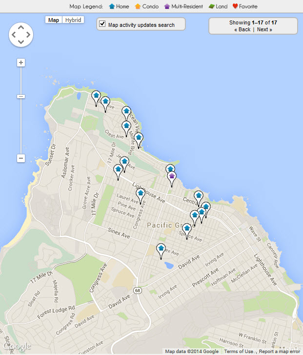 Pacific Grove Bay View Real Estate Map