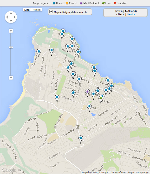 All Pacific Grove Real Estate for sale on a Map