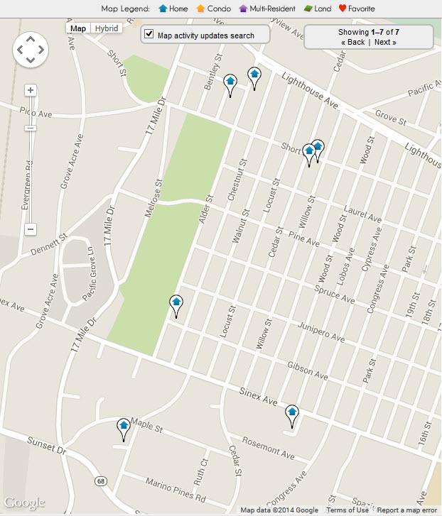 Pacific Grove Washington Park Neighborhood Real Estate Map
