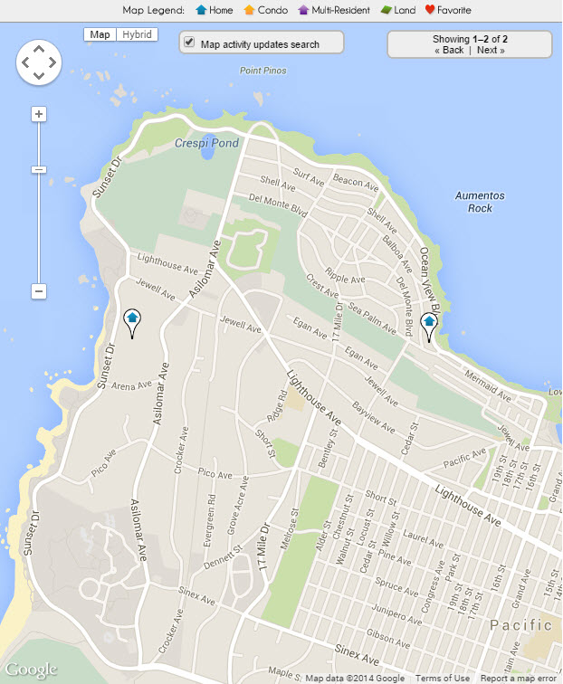 Pacific Grove Water Front Real Estate Map