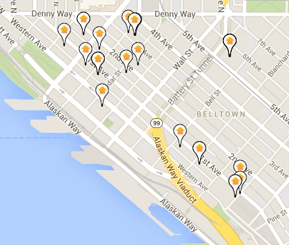 Clickable map of all Belltown condos