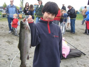 My oldest with a nice catch from April 2008