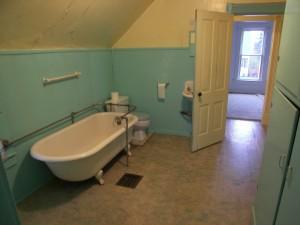 Bathroom open to the hallway