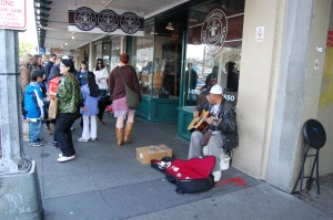 Street musicain at Pike Place Market.