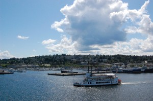 Queen of Seattle sails under Ballard Bridge