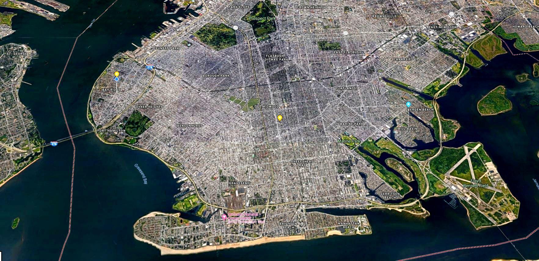 Brooklyn map at nigt