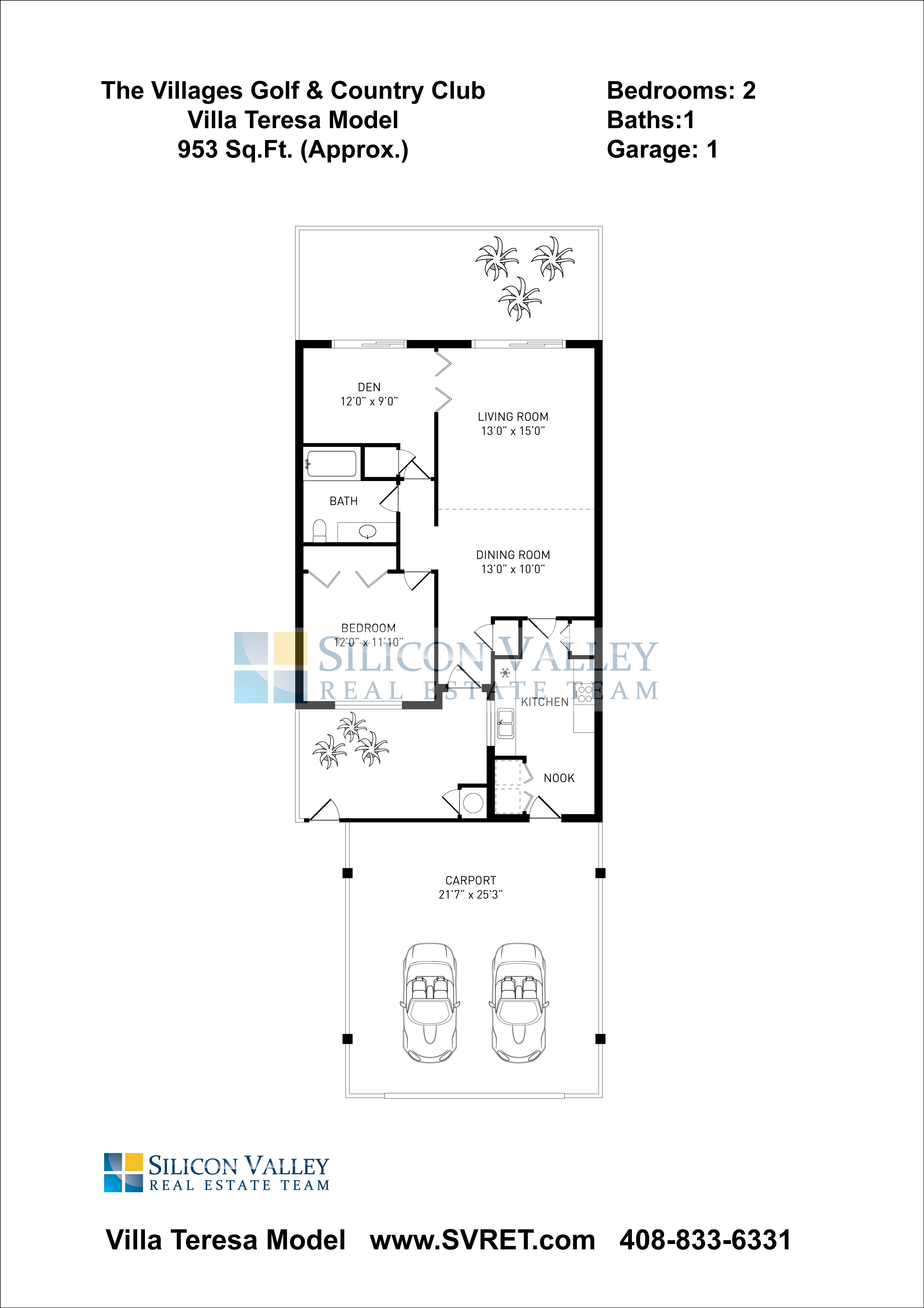Villa Teresa Floor Plan Model 953sf Montgomery Village