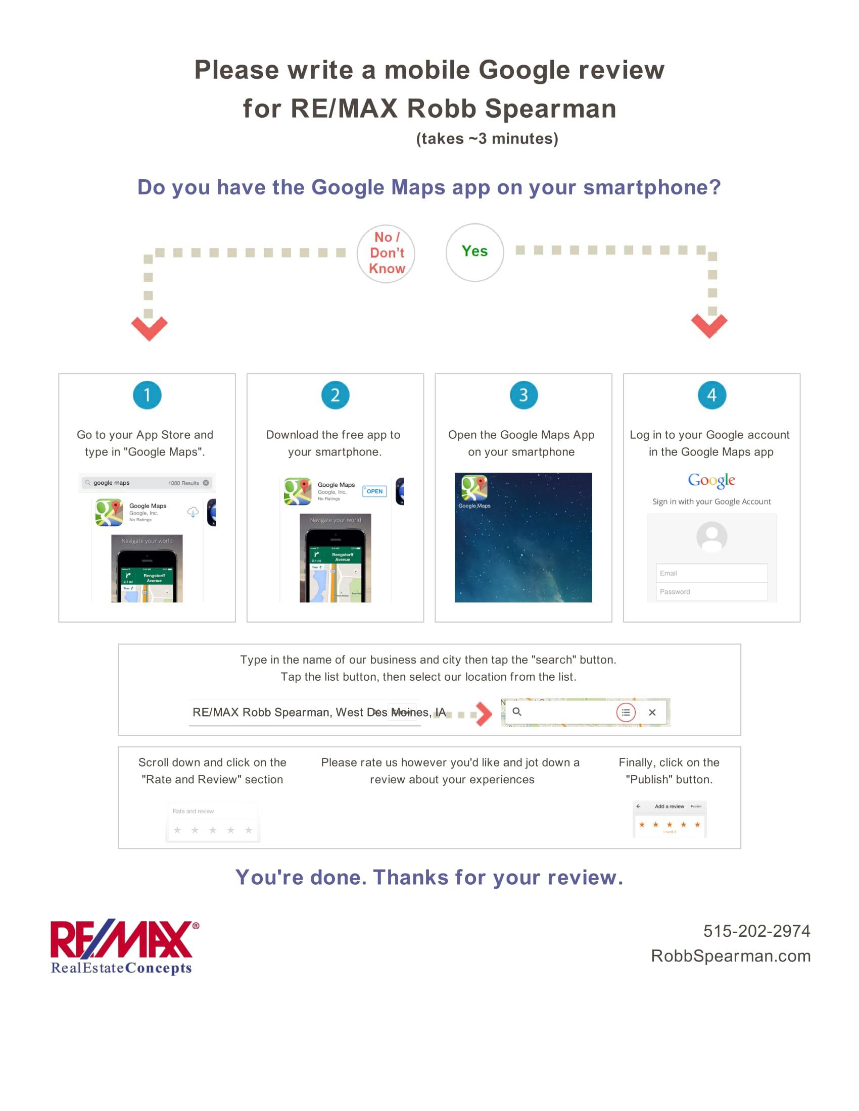 Google Review Google Map Robb Spearman RE/MAX West Des Moines & Des Moines