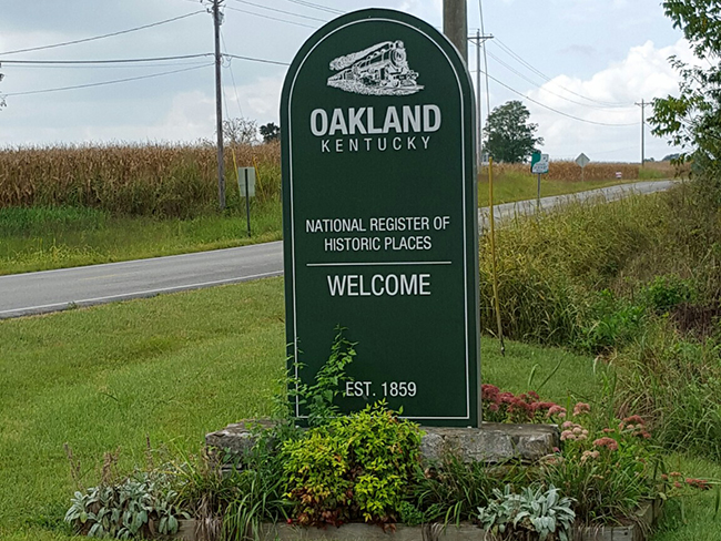 Oakland KY welcome sign