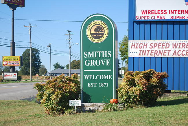 Smiths Grove KY welcome sign