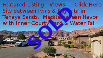 Sold Ivins Home for Sale in Tenaya Sands subdivision, views of Kayenta Red Cliffs