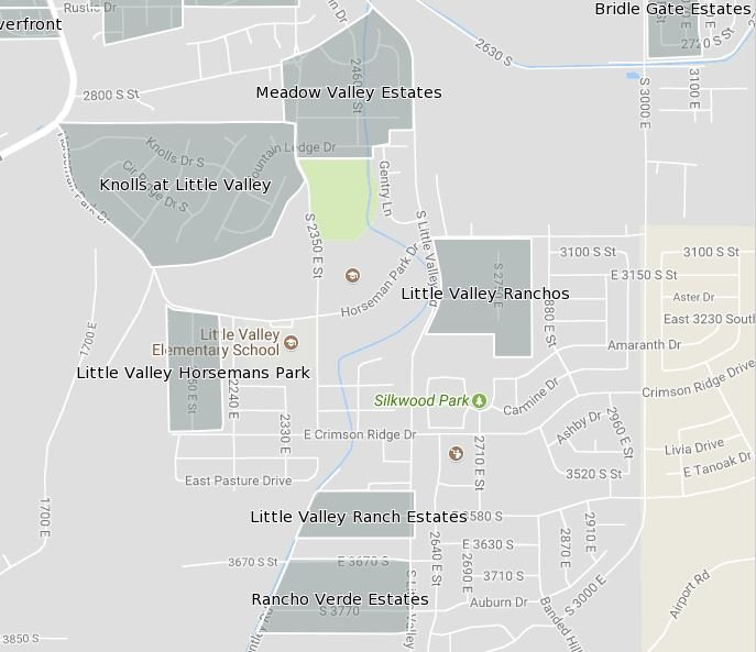 Map of Established Subdivisions Within Little Valley of St George Utah