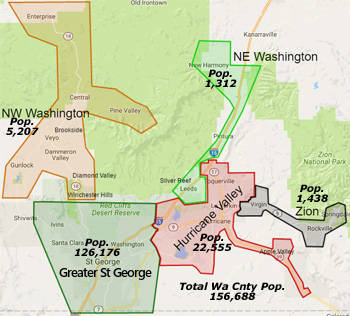 Washington County Utah Map - Picture represents approximate boundaries and hand drawn areas take in cities within each area.
