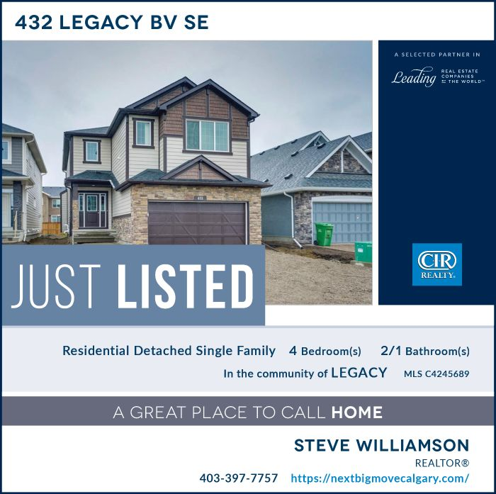 Just Listed - 432 Legacy Bv SE Calgary