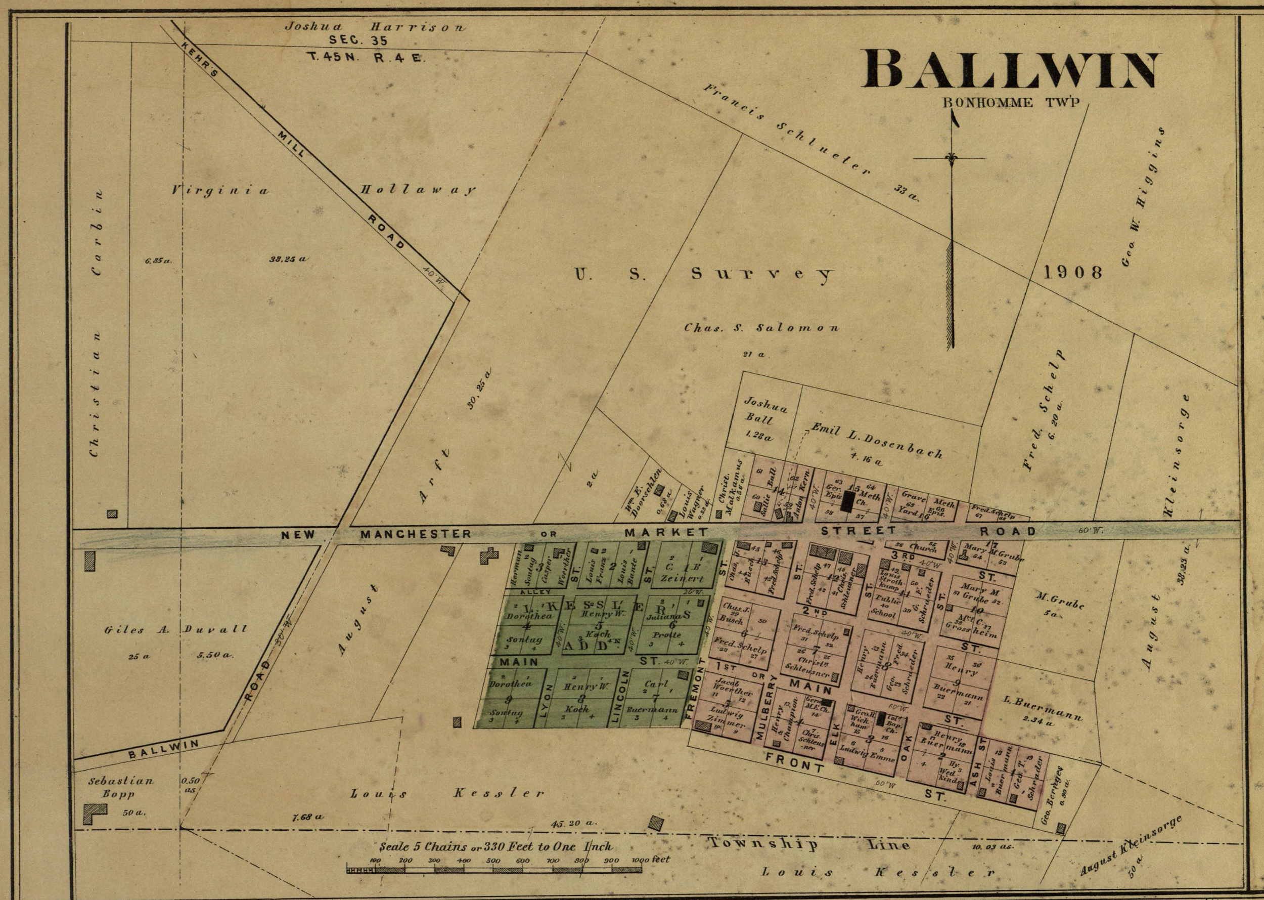 1878 Map of the City of Ballwin, Missouri