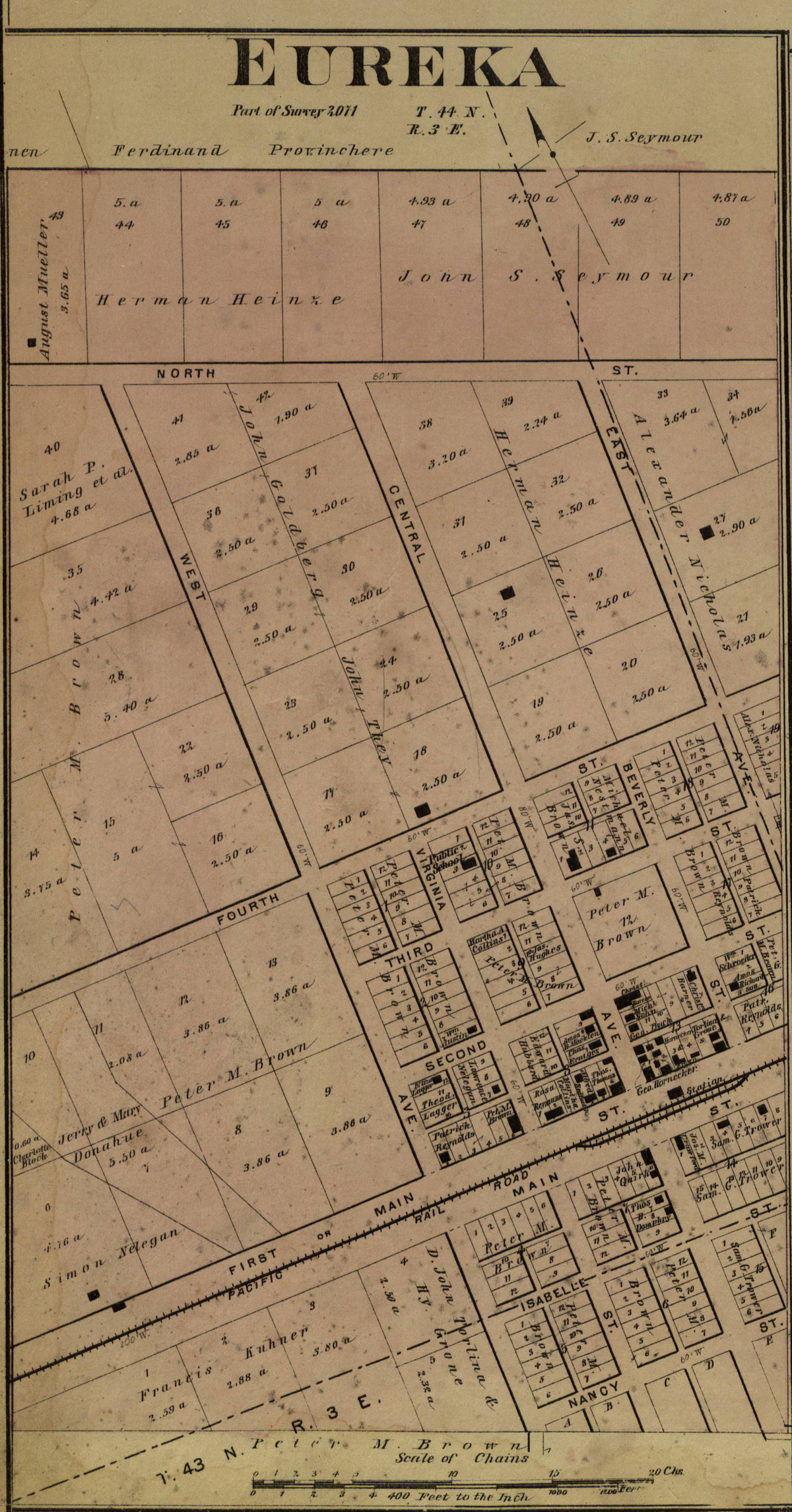 City of Eureka Map - Circa 1878