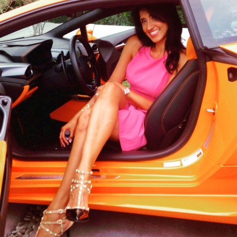 Barbra Stover in a Lamborghini on Million Dollar Listing, airing this fall 2015