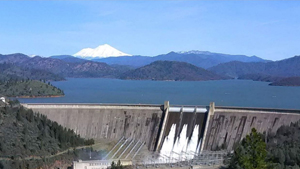 Shasta Dam, Lake Shasta, & Mt Shasta as seen from Redding CA
