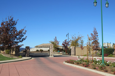 The entrance at Clover Creek Village, a gated community in Redding CA