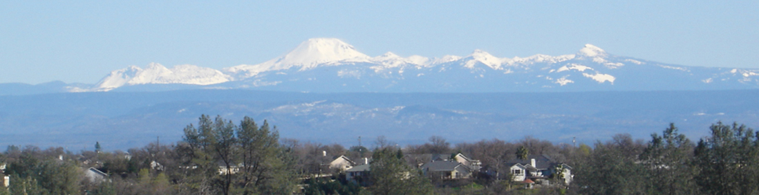 Mt Lassen in the background and Homes in Redding CA