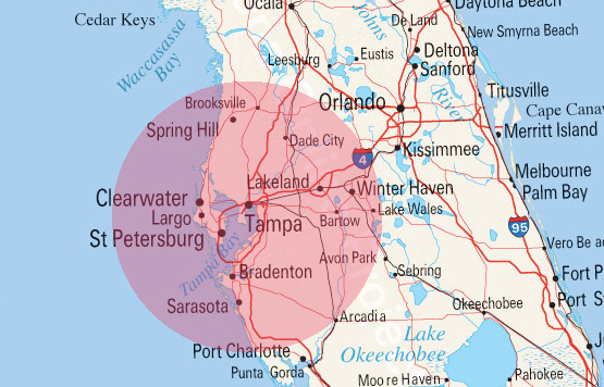 Tampa Florida Area Real Estate Search Map