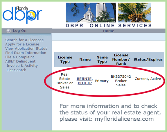 Florida Real Estate Agent License Check Site - Florida Dept. of Business and Professional Regulation