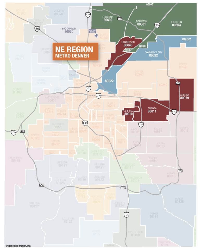 Northeast Suburban Denver zip codes