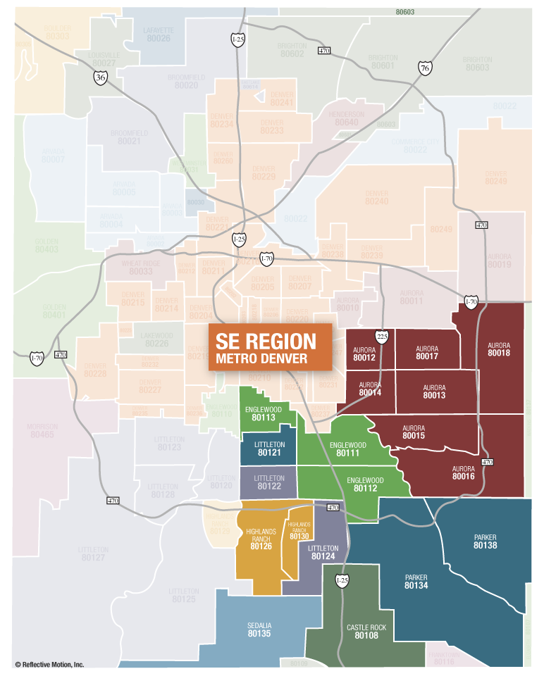 Southeast Suburban Denver - zip codes