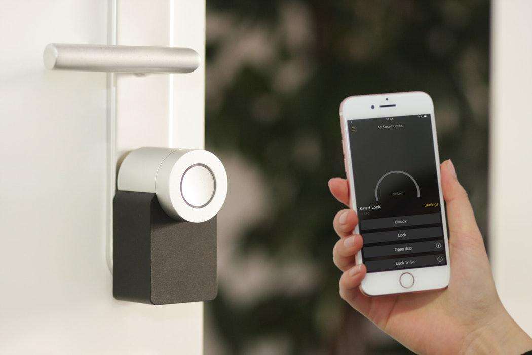 A smart lock on a door.